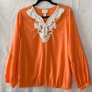 Chico's Embellished Popover Blouse